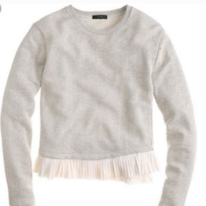 J. Crew Ruffle Trim Gray White Trim Sweatshirt Top